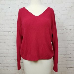 Chelsea28 V-Neck Pullover Knit Sweater Red Persia